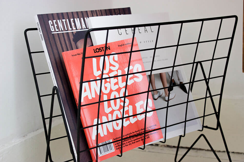 Sainsburys Magazine Rack with Cereal Mag and Lost In Los Angeles Magazine.