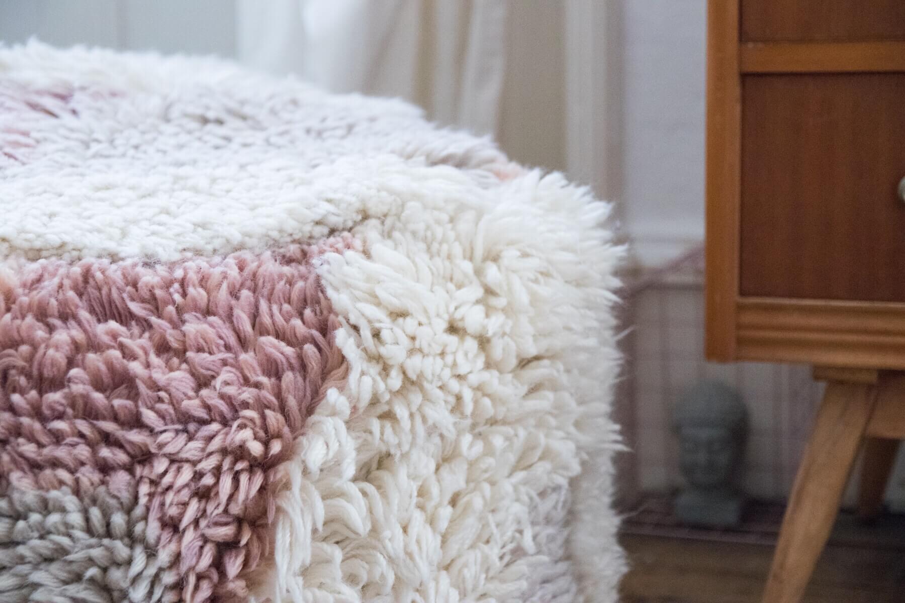 Coloured sheepskin pouf